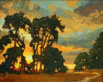 Mission Arts and Crafts CRAFTSMAN Pine Sunset Giclee by gallery28 Please visit my website www.artreproductionservices.com for details.