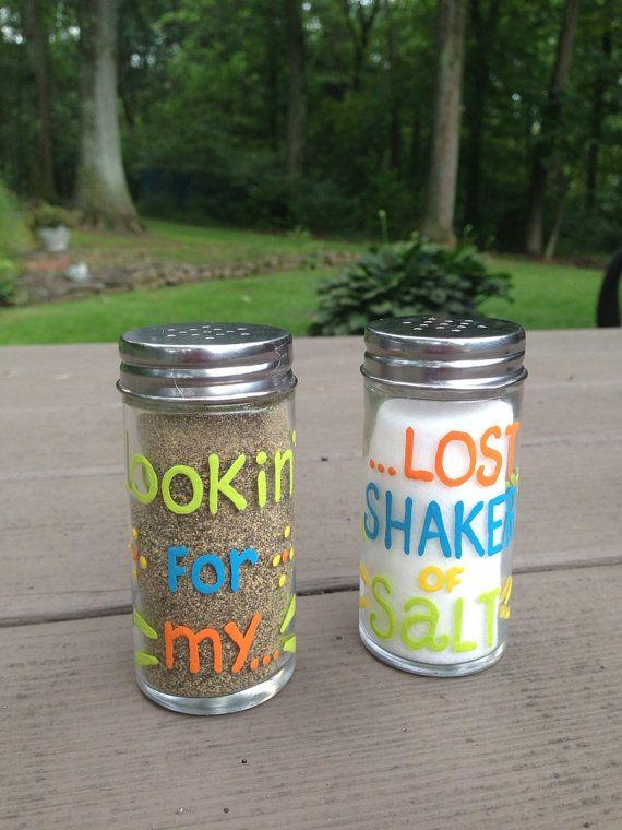 "Jimmy Buffett inspired ""Looking for my...lost shaker of salt"" salt and pepper set"
