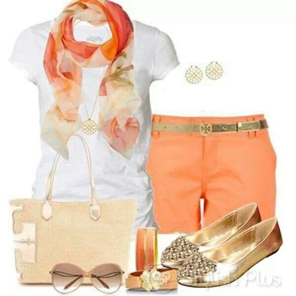 Summer outfit - Calções Laranja, Lenço, T-Shirt Branca, Sabrinas Douradas, Mala Beige/Dourada, Óculos de Sol, Brincos 'hoop', Pulseiras Laranja.