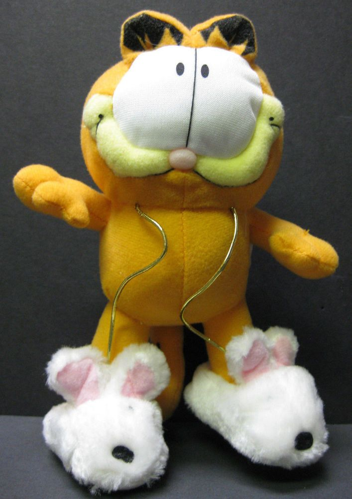 """GARFIELD CAT - Vintage Plush, with Bunny Slippers  7"""" high,  Very good condition"""