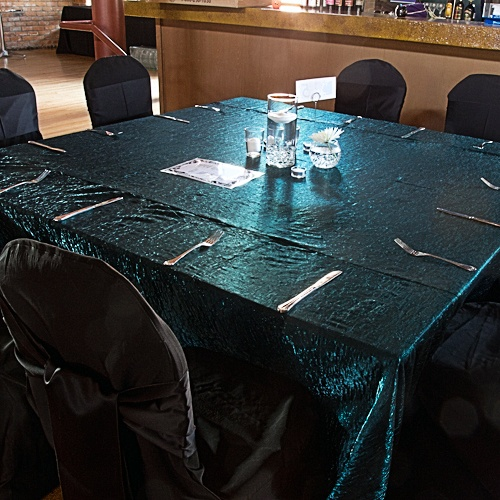 teal galaxy - comes in runners too Rent Chair Covers & Table Linens for Weddings & Parties | Chair Covers and Linens