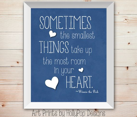 Winnie the Pooh Quote-Sometimes the Smallest things-Inspirational Quotes for Children-Nursery Wall Decor Art Prints Home Decor-Boys Room on Etsy, $15.00