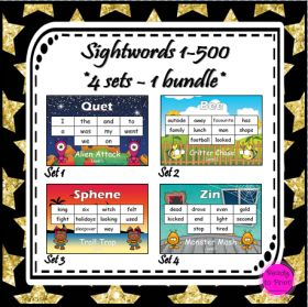 Sight word bundle - 4 themed sets of words with a total of 500 high frequency words!  Excellent for class displays and assessment.