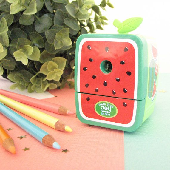 Watermelon Pencil Sharpener by RedLemonSupplies on Etsy