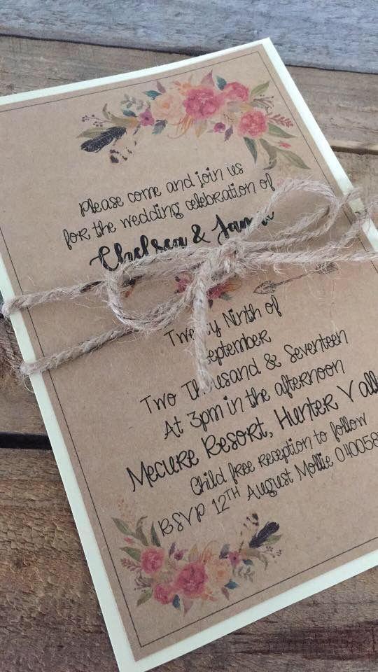 Handmade rustic wedding invitations by  Vintage La Belle