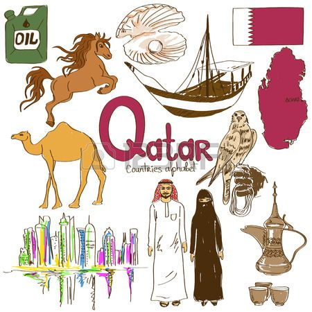 Fun colorful sketch collection of Qatar icons countries alphabet Stock Vector