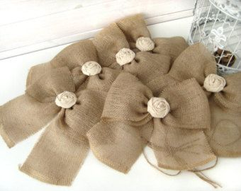 NEW Burlap Bow Rustic Wedding Fabric Rose Set of 6 Pew Bows