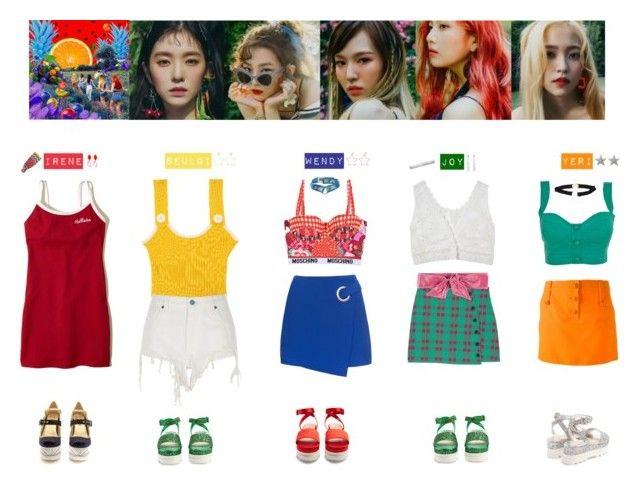 """""""RED VELVET - RED FLAVOR💛💚💙❤️💜"""" by vvvan99 ❤ liked on Polyvore featuring Hollister Co., Moschino, Maaji, Versace, Miso, River Island, Miu Miu, Pinko and Missoni"""