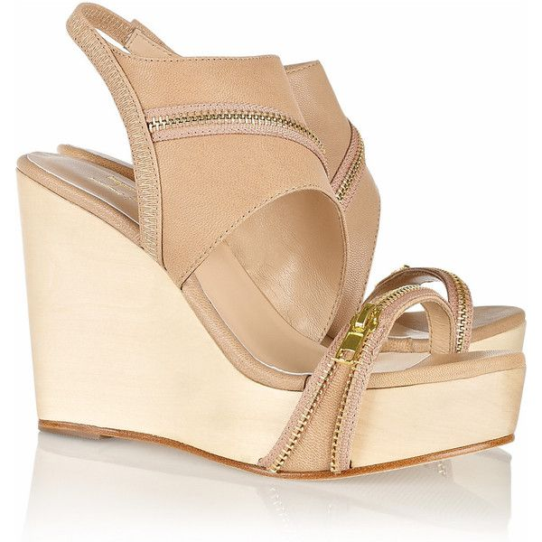 Halston Heritage Abby leather wooden wedge sandals ($130) ❤ liked on Polyvore featuring shoes, sandals, wedges, heels, neutral, heeled sandals, wedge sandals, platform wedge sandals, leather platform sandals and wooden platform sandals