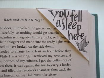"""I saw this DIY bookmark idea while cruising the archives of a new favorite blog called d.Sharp Journal. Re-use old envelopes by cutting the corners to serve as disposable, notable, bookmarks. I love the idea. I will use anything within reaching distance as a bookmark; receipts, napkins, bobby pins, you name it. Not only do I adore the re-use/recycle aspect of this project, but I love the ability to customize each bookmark with notes."" ~ From Double Takes Blog"