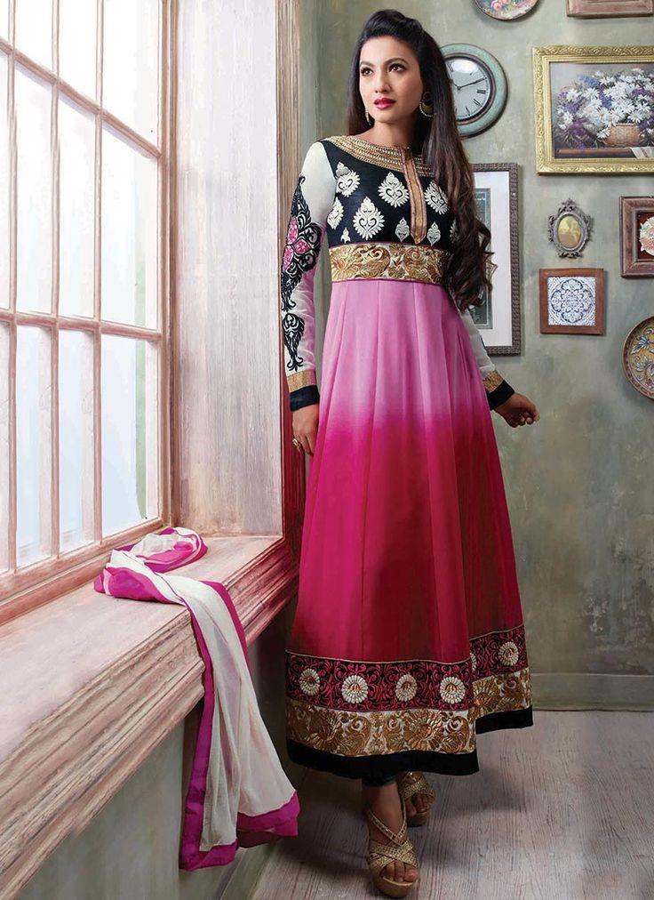 Pink Georgette Gauhar Khan Kalidar Suit