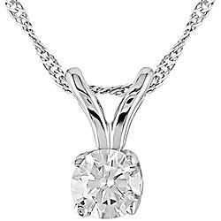 A single round-cut diamond takes center stage on this simple yet elegant solitaire pendant. Crafted of shimmering 14-karat white gold, the gorgeous necklace hangs by a rabbit-ear bail on a white gold rope chain - $159.99