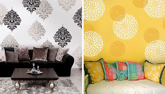 wall stencils - Love ones that can be removed - you can make your own with adhesive shelf liner.