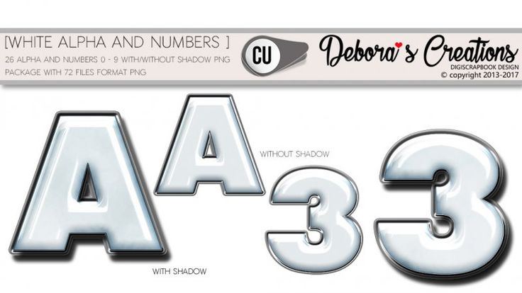 White alpha and numbers by Debora's Creations CU