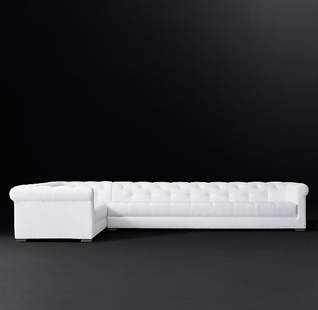 Modena Chesterfield Fabric Right-Arm L-Sectional