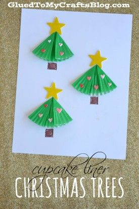 Cupcake Liner Christmas Trees - Kid Craft