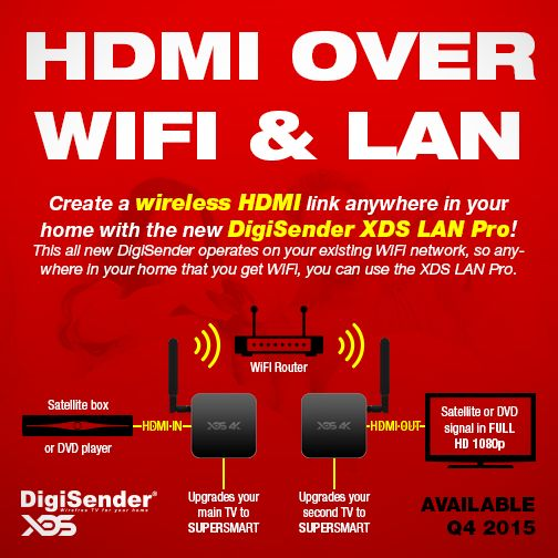 The DigiSender XDS LAN Pro is capable of transmitting any connected HDMI source device, in any resolution up to HD 1080p. It works over an existing Wi-Fi connection, so anywhere in your home that you can get Wi-Fi, you can use the XDS LAN Pro. It also features a customised Android 5.0+ Lollipop operating system, so it also has the benefit of upgrading both of your TV's to smart TV's with 4K services.