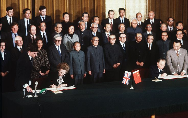 The Sino–British Joint Declaration,  on the Question of Hong Kong, was signed by Premier Zhao Ziyang of the People's Republic of China (PRC) and Prime Minister Margaret Thatcher of the United Kingdom (UK) on behalf of their respective governments on 19 December 1984 in Beijing.[1]