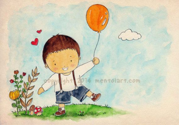 Art Print Watercolor Illustration : growing up baby boy !    drawing will be printed using silky smooth/textured art paper (you can choose). The