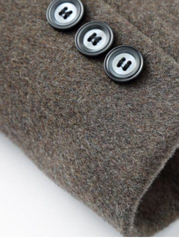 CADETBLUE Elegant Stand Collar Single Breasted Slim Fit Wool Overcoat For Men L