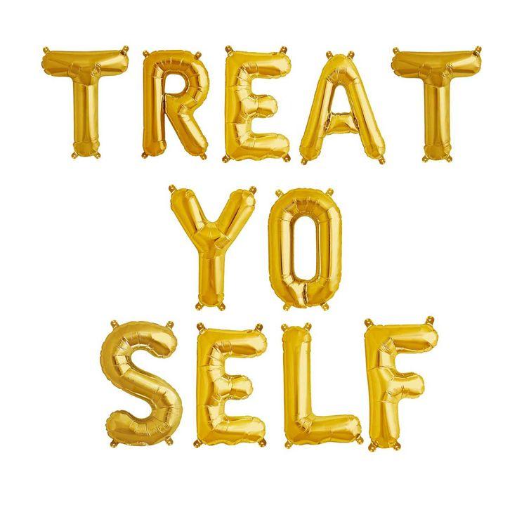 TREAT YO SELF gold balloon letter kit. Gold mylar letter balloons. Word balloon garland. Bachelorette balloon garland. Birthday balloons.