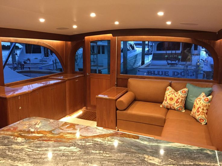 Starflite Galley View Of Salon, Stunning Granite Countertops, Custom  Fabricated Settee Made With Ultraleather