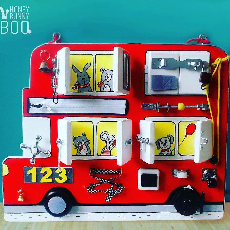 """59 Likes, 3 Comments - Бизиборды. Детский декор. (@honeybunnyb00) on Instagram: """"Бизиборд Автобус. Размер 55х43см(высота),сделан из фанеры. 18 игровых элементов + за каждой дверцей…"""""""