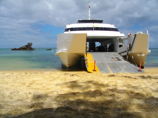 Moreton Island ferry.  Yes, you drive right onto the beach.