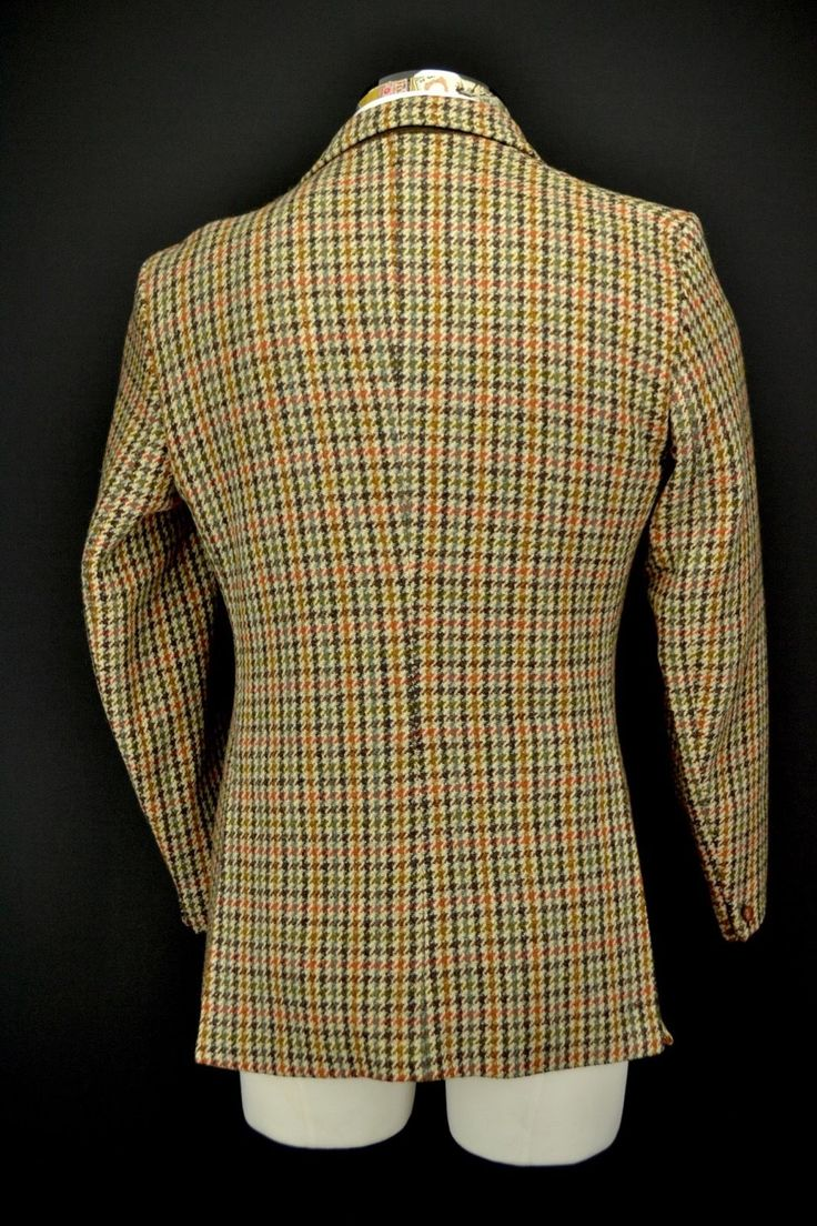 "Vintage Dunn & Co 3 Button Harris Tweed Jacket size 4"" Short Blue &…"
