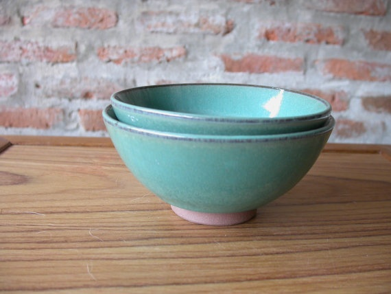 Green Ceramic Japanese Vintage Soup Bowl, Two Lovely Terracotta Handmade Pottery Soup Bowl in raven green