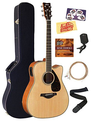 Yamaha FGX820C Acoustic-Electric Guitar Bundle with Hard Case, Tuner, Strap, Strings, Austin Bazaar Instructional DVD, Picks, and Polishing Cloth - Natural *** Click on the image for additional details.