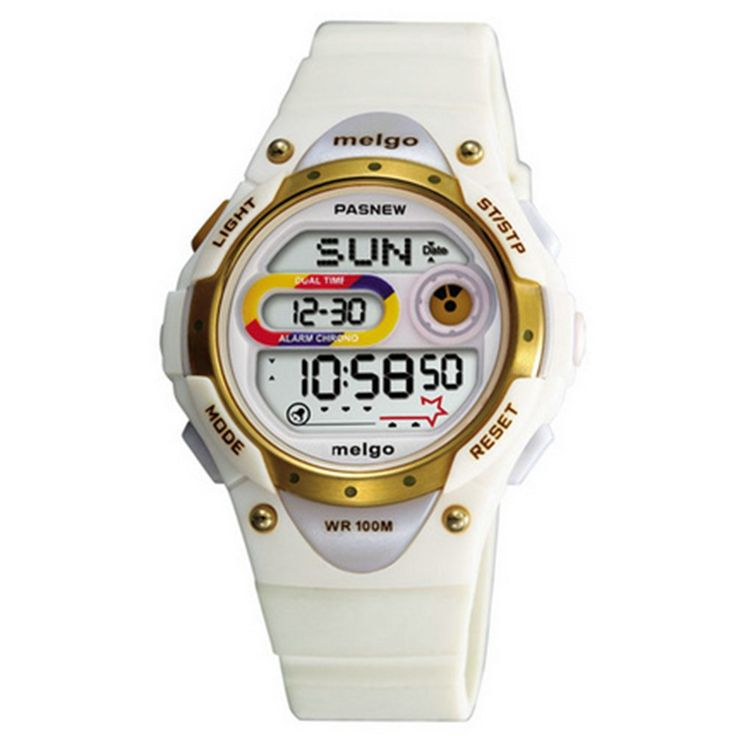 Pasnew LED Waterproof 100m Sports Digital Watch for Children Girls Boys (White). Japanese High quality movement. Long Battery Life. Suitable for wrist 14cm - 19cm. Over Age 6 years old . Safe and non-toxic plastic strap, no harm to children's Skin. It is also very suitable for outdoor sports. Functions:Noctilucent, EL backlight, Alarm, Chronograph, Hourly chime function, Date&Time, Dual time, Water-resistant 100 m. Easy to set up. It is able to operate it by children own. Nice watch for...