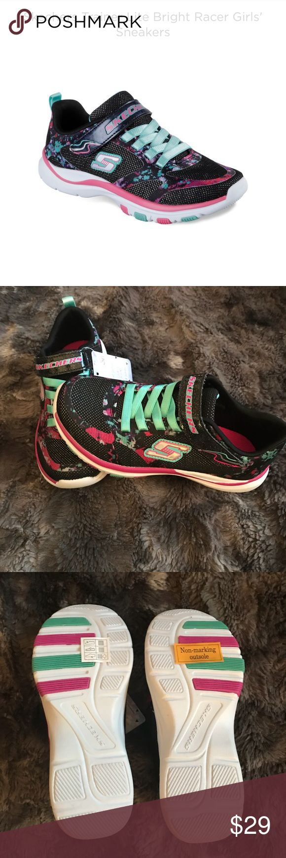 Girls size 13 Skechers sneakers black pink floral Girls size 13 brand new Skechers. They are black, blue and pink with floral design. They are the Trainer Lite Bright Racer Girls Sneakers. Super cute shoes! Skechers Shoes Sneakers