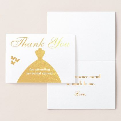 Thank You for attending my bridal shower Foil Card - wedding shower gifts party ideas diy cyo personalize