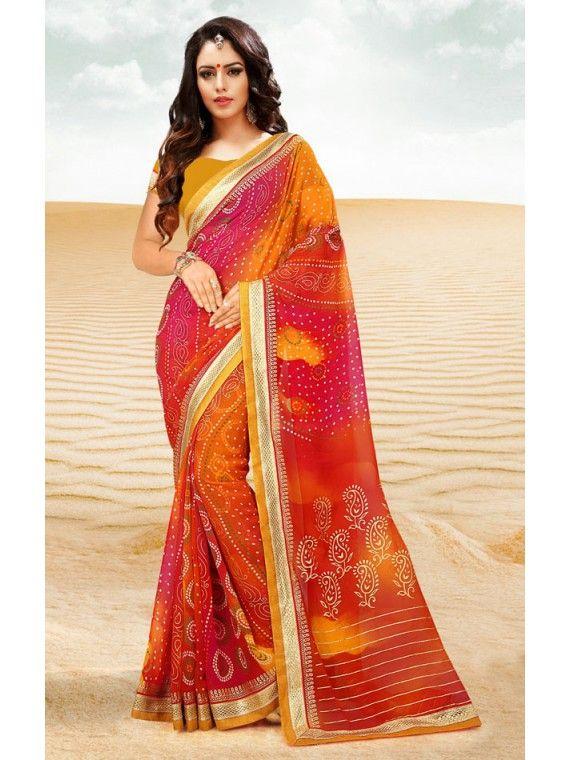 Impressive Shaded Pink and Orange Printed Georgette Bandhej Saree