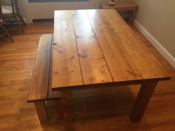 Farmhouse Dining Room Table W/ Bench by CraftyRusticElegance