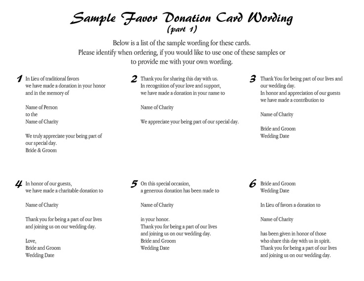 Cherish - Wedding Favor Donation Card. $1.04, via Etsy.