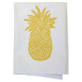 """Showcasing a pineapple motif in goldenrod, this hand block printed cotton dishtowel lends a touch of tropical charm to your kitchen decor.  Product: Set of 2 dishtowelsConstruction Material: 100% CottonColor: PineappleFeatures: Hand block printedDimensions: 30"""" x 30"""""""