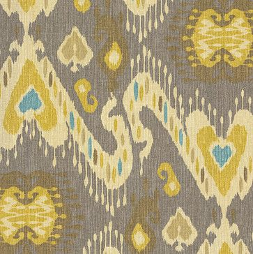 For the loveseat Gray, Yellow & Aqua Ikat Fabric - eclectic - Upholstery Fabric - Loom Decor