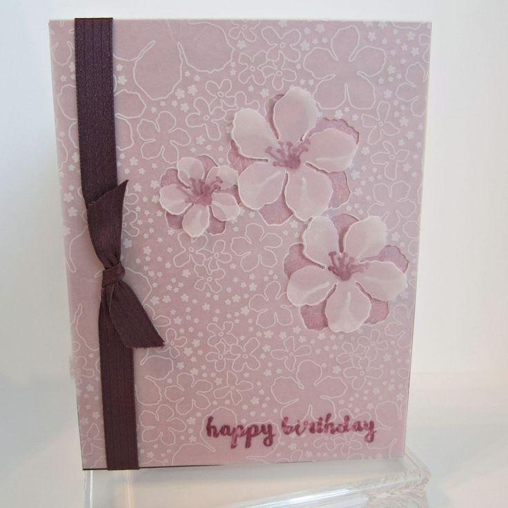 Happy Birthday Card, embellished with ribbon & velum flowers, hand stamped, floral birthday card, feminine birthday card, card for her by EnchantedRoseByLinda on Etsy