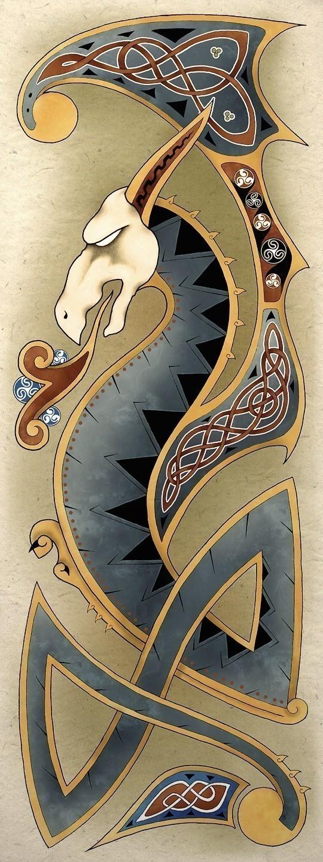 Celtic Art Poster Print Dragon Art Wall Decor Celtic Dragon