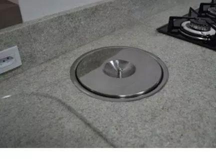 lixeira pia cozinha embutir no granito em inox não enferruja