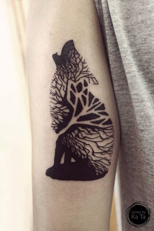 trippy tree wolf tattoo nature forest body modification body mods ...