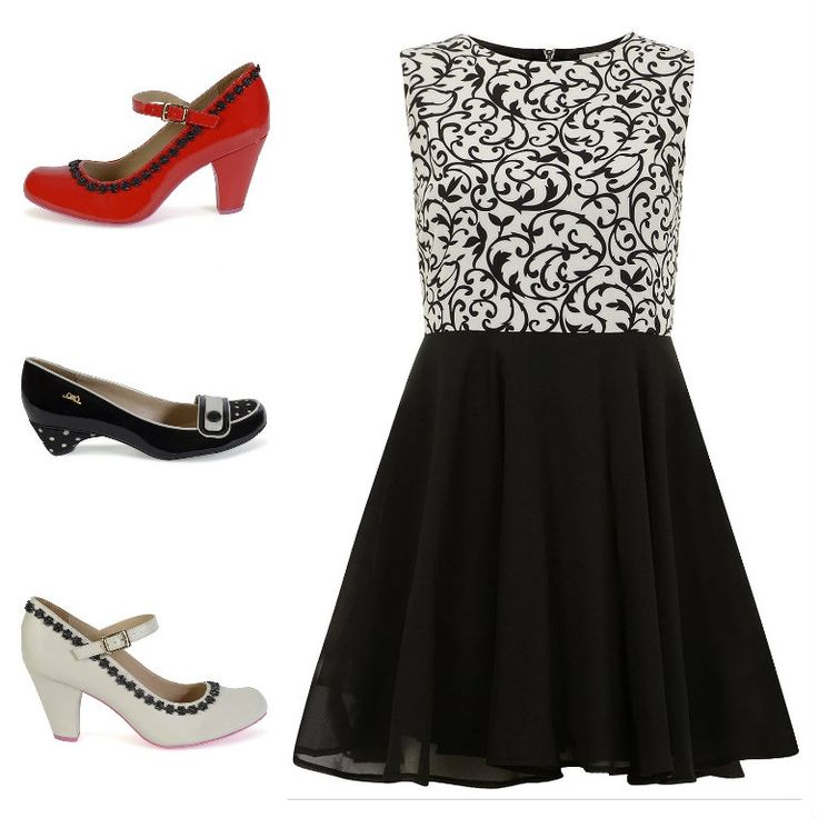 Black and white dress with #Cristofoli #shoes red, black or white. Find the dress on www.dorothyperkins.fr