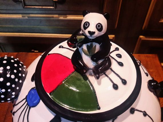 WHIMSICAL PANDA BEAR TeaPot / Cookie Jar by vintagesouthwest