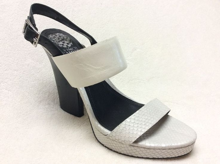 "Vince Camuto Ashes Black and White Sandals Size 10B 5"" Heel 