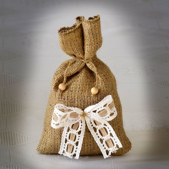 SET OF 50 Natural Rustic Burlap Wedding Favor Bag or by Teomil, $155.00