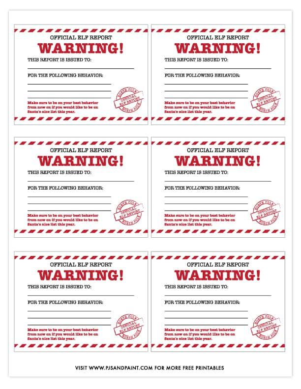 Official Elf Report Free Printable Elf Report Cards Elf Report Card Elf Letters Christmas Gift Tags Free