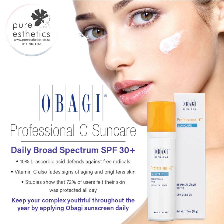 Obagi Professional C #Suncare Daily Broad Spectrum SPF 30+ · 10% L-ascorbic acid defends against free radicals · Vitamin C also fades signs of #aging and brightens skin · Studies show that 72% of users felt their #skin was protected all day Keep your complex youthful throughout the year by applying #Obagi sunscreen daily. For more information or purcahse of this product please contact us at +2711 784 1168