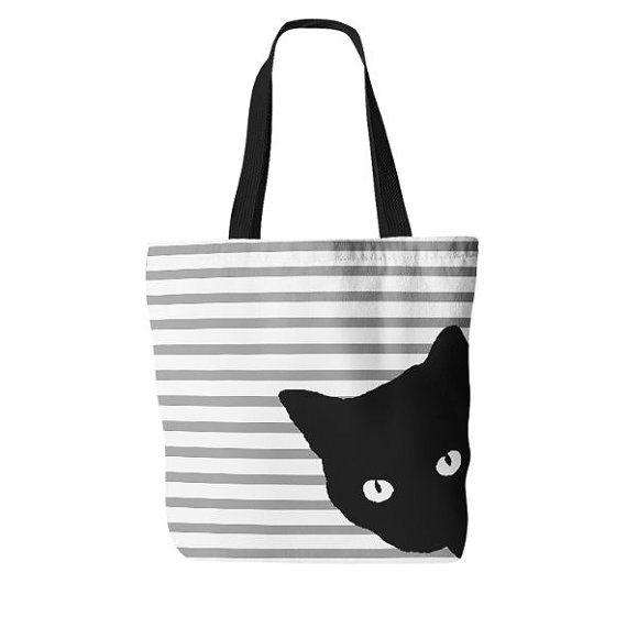 Cat Tote Bag, Cat Cosmetic Bag, Tote and makeup bag set, gifts for her, Accessory Pouch, Cat Lover Gift, Black White Grey